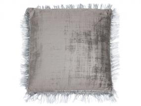 Gray fringed cushion