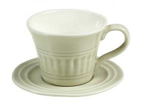 Beige cup with plate abitare