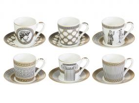Set 6 cups + plate Paladium