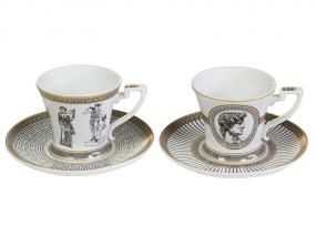 Set 2 cups + plate Paladium
