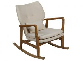 Woven beige rocking chair