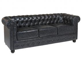 Sofa 3 pl. Chester black leath